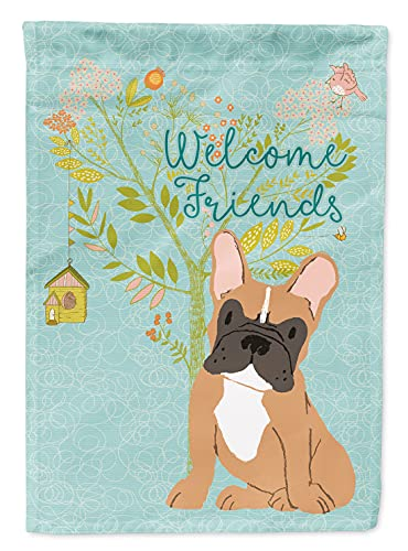 Caroline's Treasures BB7633GF Welcome Friends Fawn French Bulldog Flag Garden Size, Small, Multicolor
