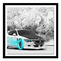 大人のためのDIY5Dダイヤモンドペインティングフルキット フルダイヤモンドクリスタルラインストーン、リビングルームの壁の装飾のためのアートクラフト 車の雪景色(30x40)CM
