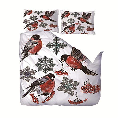 empty 3 Pieces Bedding 3D Annunciation Bird Pattern Printed 140x200cm Zipper Closure Duvet Cover with 2x50x75cm pillow case Soft Microfiber Quilt Cover Set for Child adult