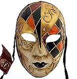 Lannakind Venezianische Maske Gesichtsmaske Volto Damen Karneval, Ballmaske, Wand-Deko (V03 Mehrfarbig)