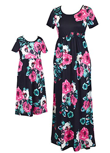 Qin.Orianna Mommy and Me Maxi Dresses,Bohemia Floral Printed Matching Dresses for Daughter and Mom (Child 5T, Black) Medium