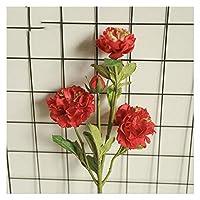 造花 1ブーケ5ヘッド人工牡丹の花シルクの偽の花 (Color : Red)