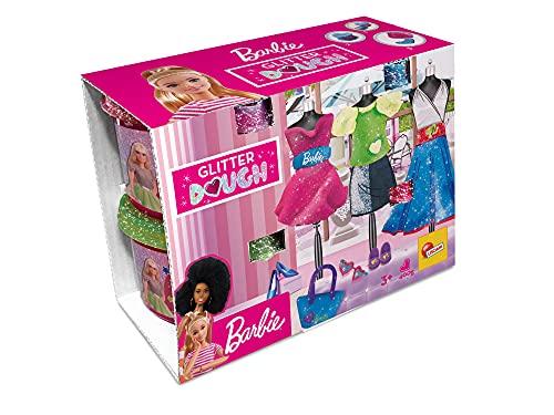 Lisciani, Barbie Glitter Dough Kit Moda, Botes en forma de corazón, Plastilina con purpurina, Pack 4 x 100 g, 88843 -Juego creativo para niñas a partir de 3 años