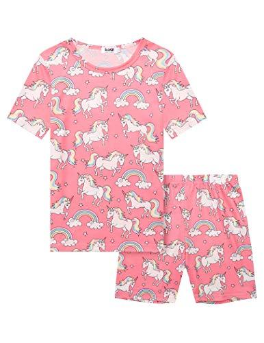 Mädchen Schlafanzug Einhorn Drucken Schlafanzüge Kurzarm Pyjama Kinder Drucken Nachtwäsche Kinder Bekleidung Pyjama Set Zweiteiliger Blau Dunkelpink 110