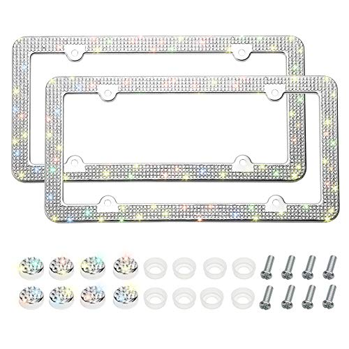 Otostar 2 Pack Bling License Plate Frames, Handcrafted 4 Rows Shiny Rhinestones Stainless Steel 4 Holes License Plate Frame with Anti-Theft Screws Caps Set (Silver)
