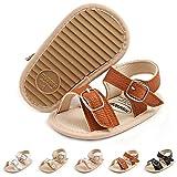BENHERO Baby Sandal Tassels Summer Toddler Slipper Soft Sole PU Leather Newborn First Walker Crib Shoes(6-12 Months Infant C/Brown)
