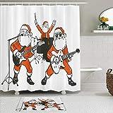 Juego de cortinas y tapetes de ducha de tela,Divertido Santa Claus Rock Band Tocando La Guitarra Guitarra Papá Noel,cortinas de baño repelentes al agua con 12 ganchos, alfombras antideslizantes