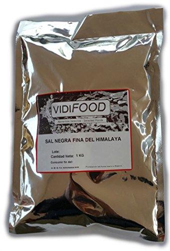 Sal Negra del Himalaya - 1 kg - Rica en nutrientes y minerales - 100% natural y sin toxinas - Alternativa baja en sodio perfecta para la sal de mesa común - Sabor increíble - Apta para veganos