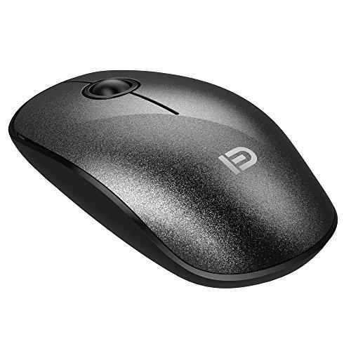 Ratón inalámbricoFD V82.4G silencioso ultrafino, de bonito diseño, inalámbrico con nano receptor 1500dpi ideal para ordenador portátil, PC, portátil Macbook y Chromebook negro negro