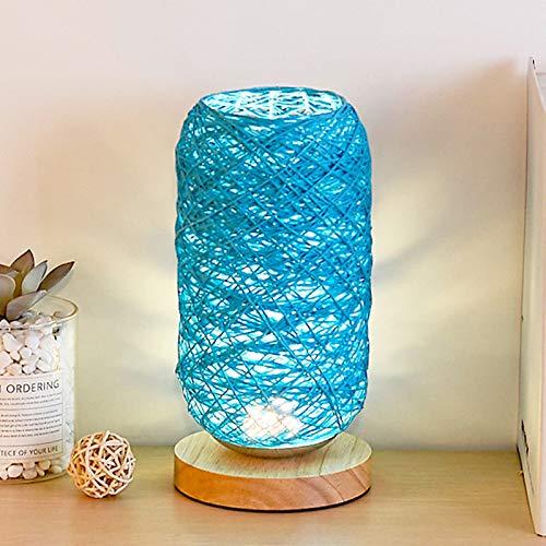 Dormitorio Cama Carga LED Lámpara de Noche de Madera Sólida Cuerda de Ratán Lámpara de Bola