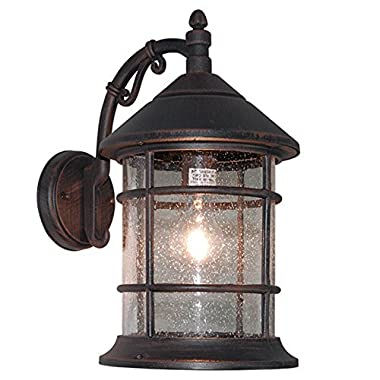 eTopLighting Bella Luce Collection Exterior Outdoor Wall Lantern, Oil Rubbed Rust Body Finish Clear Seeded Glass APL1016