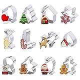 Iindes Lot de 12 emporte-pièces de Noël pour Enfants Bonhomme Flocon de Neige Arbre de Noël et Autres Formes en Acier Inoxydable Biscuits Cutter