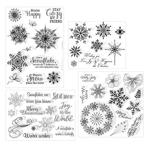 4 Sheets Snowflake Clear Stamps Assorted Christmas Silicone Stamps Snowflake Theme Clear Stamps with Snowflake Patterns for Card Ornament Supplies and DIY Scrapbook