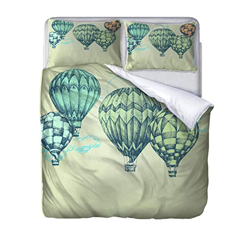 zzqxx Home Single Duvet Quilt Cover Printed hot air balloon Bedding Set 100% Polyester Zippered Revrsible Duvet Cover with 2 Pillowcases Ultra Soft 55.1 x 78.7 inch