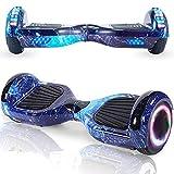 Magic Vida Skateboard Elettrico 6.5 Pollici Bluetooth con Due Barre LED Monopattini elettrici autobilanciati di buona qualità per Bambini e Adulti(Cielo Blu)