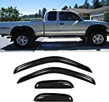 Puermto 4pcs Side Window Wind Deflectors/Vent visors for 95-04 Toyota Tacoma Access/Extended Cab,Out-Channel Tape-On Nice Rain Guards Set