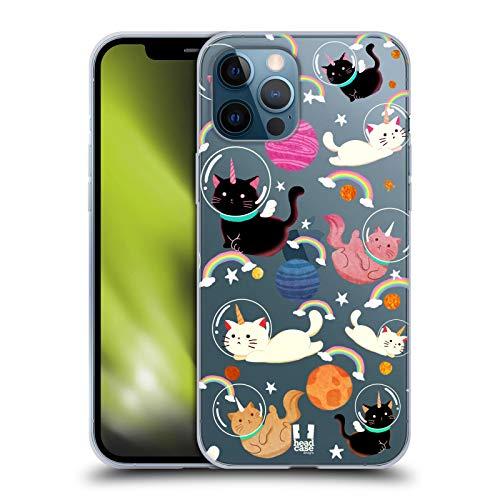Head Case Designs Gato Unicornios espaciales Carcasa de Gel de Silicona Compatible con Apple iPhone 12 Pro MAX
