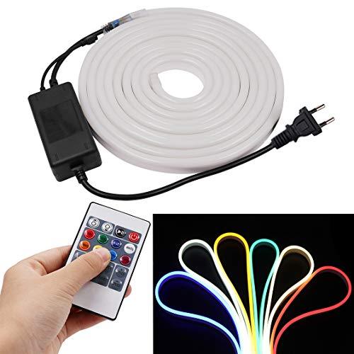 XUNATA 3M LED RGB Neon Streifen, 220V 230V 2835 120leds/m Dimmbares Diffusion LED Lichtband Schlauch mit 20 Tasten Fernbedienung und Kontroller (3m)