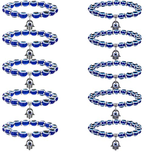 WAINIS 10 PCS Evil Eye Beaded Charm Bracelets Blue...