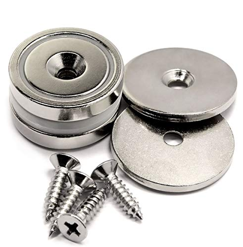 88 LB Super Strong Neodymium Cup Magnets Dia 1.26 w/ #10 Countersunk Hole Plus Matching Strikers & Screws. Made of Neodymium Magnets - Great Round Base Mounting Magnets Super Powerful 2 Packs