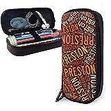 Preston - Estuche de lápices de cuero de gran capacidad de apellido americano, lápiz, lápiz, papelería, organizador, organizador de oficina, maquillaje, bolsa de papelería para estudiantes
