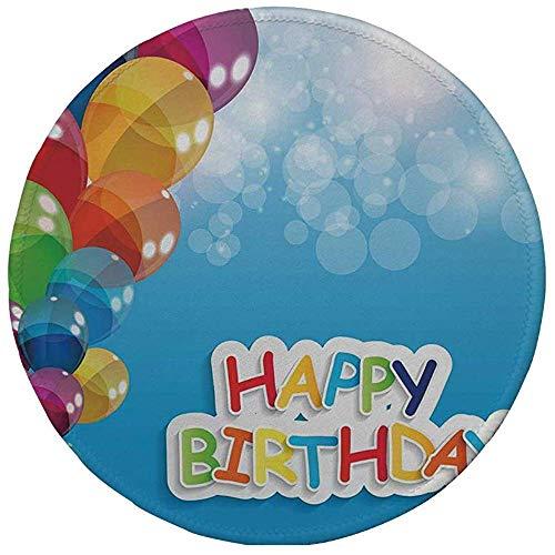 Gummi-Gaming-Mauspad,rutschfestes rundes Mousepad,Geburtstagsdekorationen,lebendige Luftballons im Himmel Sonnenstrahlen Abstraktes Luftfeierthema,mehrfarbig,20CM