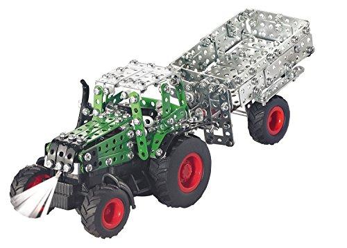 RC Auto kaufen Traktor Bild 6: Tronico 09521 - Metallbaukasten Traktor Fendt 800 Vario mit Kippanhänger und Fernsteuerung, Maßstab 1:64, Micro Serie, grün, 451 Teile*