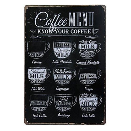 Pixnor Kaffee-Menü kennen Ihren Kaffee Metall Zinn Zeichen Plaque Wand Kunst Poster Cafe Bar Pub Bier Wand Decor Wand-Plakette