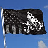 jhin Dekorative Fahnen Outdoor Flags Worn-Out America Flag Quad Bike Silhouette 3X5 Ft Flag for Outdoor Indoor Home Decor Sports Fan Football Basketball Baseball Hockey Decorative Banner