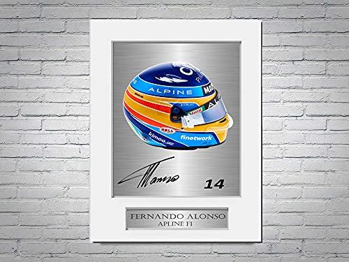 Fernando Alonso Alpine F1 Formula 1 2021 - Soporte de foto firmado para casco A4