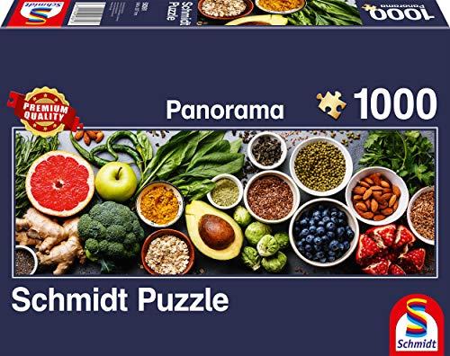 Schmidt Spiele- Puzzle panorámico de 1000 Piezas en la Mesa de la Cocina, Color carbón (58361)
