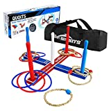 Win SPORTS Premium Wooden Ring Toss Game Set Throwing Game Indoor Outdoor Games for Kids & Adults,Includes Wood Base,Fun Family or Friends Game