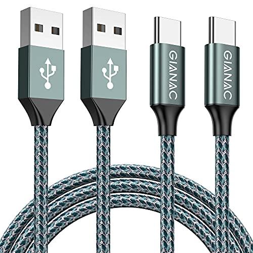 GIANAC Cavo USB C, [2Pezzi, 2m 2m] Nylon Intrecciato 3A Rapida Ricarica Cavo USB Tipo C per Samsung S8 S9 S10 A30 A40 A50 A70 A20e,Huawei P9 P20 P10 P30,Xiaomi,Sony,Gopro,OnePlus