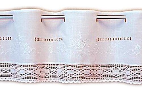 wunderschöne Bistrogardine 30x150 cm Scheibengardine Kurzgardine Gardine Weiß Ton in Ton bestickt tolle HÄKELSPITZE Stangendurchzug BAUERNSTIL Landhausstil SHABBY (30 cm hoch x150 cm breit)