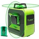 Huepar 2x360° レーザー墨出し器 グリーン 緑色 レーザー クロスライン 自動水平 高輝度 高精度 ミニ型 3電源方式 充電可能【横フルライン1本+縦フルライン1本タイプ】602CG