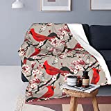 FeHuew Cardinals Birds Cherry Flowers Soft Throw Blanket 40x50 inch Lightweight Warm Flannel Fleece Blanket for Couch Bed Sofa Travel Camping for Kids Adults