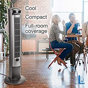 """Lasko Portable Electric 42"""" Oscillating Tower Fan with Nighttime Setting, Timer and Remote Control for Indoor, Bedroom and Home Office Use, Silver T42951"""