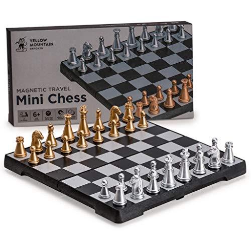 Yellow Mountain Imports Magnetisches Reiseschach-Set (16,2 Zentimeter) - Kompaktes, Tragbares, Pädagogisches Brettspiel