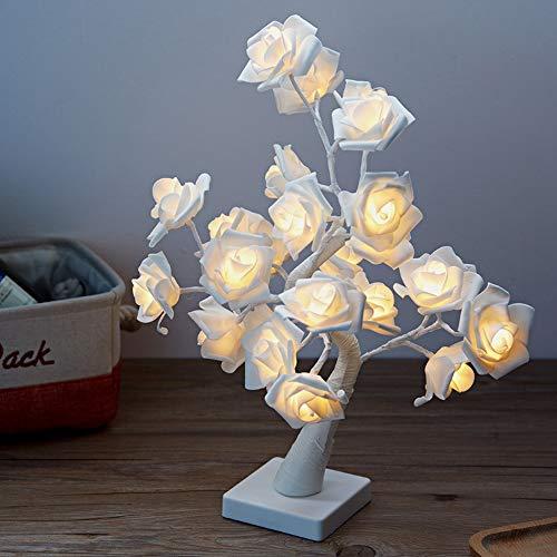 Lámpara de Mesa LED, Lámpara de árbol Bonsai con 24 Rosas, Lámpara Decorativa para Sala de Estar, Dormitorio, Decoración de Fiesta Familiar, Boda, Festival