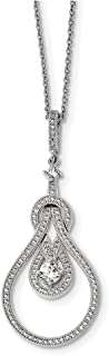 """Lex & Lu Sterling Silver & CZ Brilliant Embers Polished Necklace 18"""" LAL114027"""