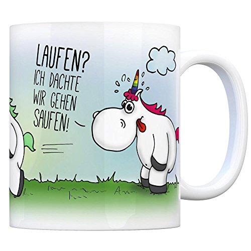 Honeycorns Kaffeebecher mit Einhorn Motiv & Spruch: Laufen? Ich dachte wir gehen Saufen!