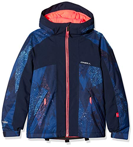O'Neill Mädchen Allure Jacket Snow, Blue AOP w/pink or Purple, 152