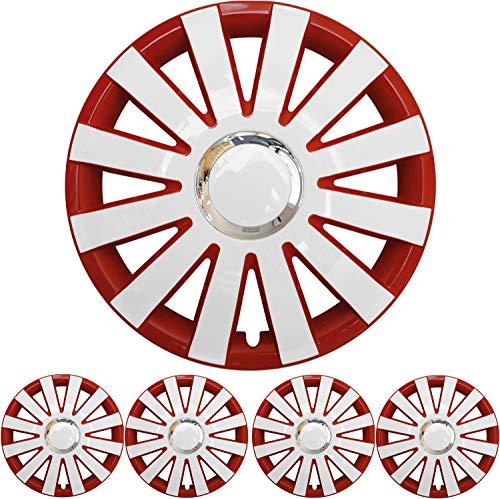 4X Premium Design Radkappen Radzierblenden Set \'Onyx\' 15 Zoll in Rot/Weiß