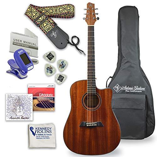 Antonio Giuliani Acoustic Mahogany Guitar Bundle (Clear) (DN-1) -...