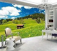 YCRY-壁紙アルパインスプリングフルウォールライティングチルドレンハウス3D -壁の装飾-ポスター画像写真-HD印刷-現代の装飾-壁画-350x250cm
