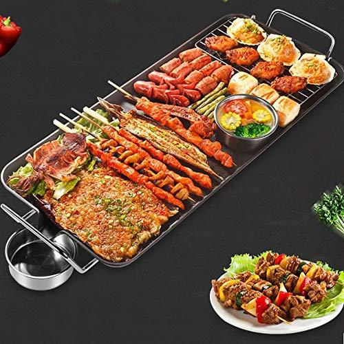 Grote elektrische anti-aanbaklaag tapanyaki tafelblad, grillkookplaat, lekbak en cool touch-grepen - 2000 W (68 x 30 cm plaat)