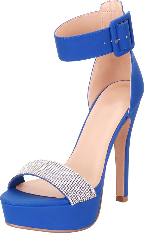 Cambridge Select Women's Open Toe Ankle Strap Crystal Rhinestone Chunky Platform High Heel Dress Sandal