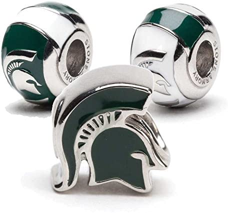 Michigan State Charms Michigan State Spartan Helmet and 2 Bead Charms Officially Licensed Michigan product image