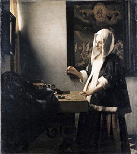 Jan Vermeer – Woman Weighing Gold ca. 1657 Jan Vermeer (1632-1675 Dutch) Oil on canvas National Gallery of Art Washington D.C. USA Poster Drucken (45,72 x 60,96 cm)