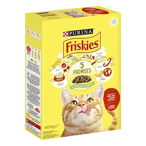 PURINA FRISKIES Crocchette Gatto Adult con Manzo, Pollo e Verdure, 20 Confezioni da 400 g Ciascuna, Peso Totale 8 kg